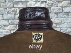 1940's German Leather Coat XL Vintage Motorcycle Overcoat WW2