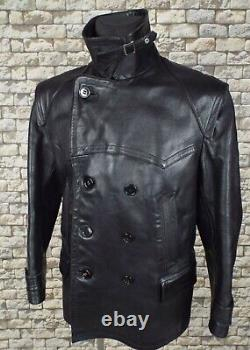 1940's German Leather Jacket L Black Vintage Police Kriegsmarine Pea Coat WW2