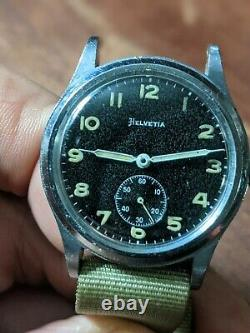 34mm WWII period MEN'S HELVETIA DH GERMAN MILITARY WRISTWATCH US Army ordinance