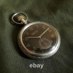 A LUNSER BERLIN BUREN POCKET WATCH GERMAN ARMY 1940s WW II 2 MILITARY BLACK n DH