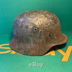 Amazing WW2 German Army M40 Helmet Semi Relic Normandy