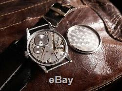 Era Dh Rare! Swiss Wrist Watch For German Army Ww2 Ww II For Men 15 Jewels 1940s