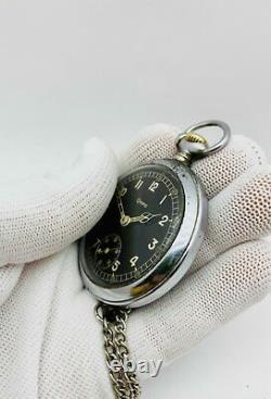 GRANA Pocket Watch RARE Military DH German Army Swiss Vintage Watch 1940s WWII