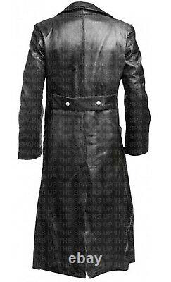 German Classic WW2 Military Officer Uniform Overcoat Causal Leather Trench Coat