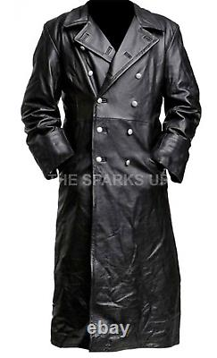 German Classic Ww2 Military Officer Uniform Black Leather Trench Coat Big Sale