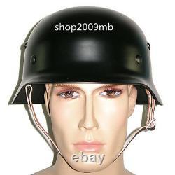M35 M1935 Steel Helmet Retro Army Brilliant Black WW2 German Elite Army