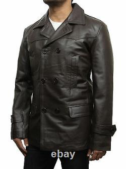 Mens Genunie Leather Jacket German Military Captain WWII Black/Brown Coat Blazer