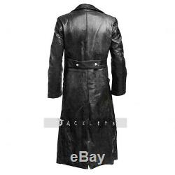 Mens German Classic WW2 Military Officer Uniform Black Real Leather Trench Coat