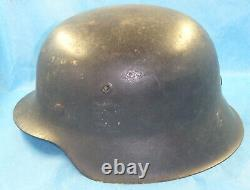 ORIGINAL WW2 M42 GERMAN ARMY ISSUE HELMET With LINER & TRACES OF DECAL