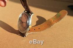 Original Vintage WW2 German Made Army Mens Watch BISCHOFF AERO-ANKER 16Jewels