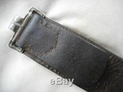 Original WW2 GERMAN ARMY / wss / LUFTWAFFE BLACK LEATHER COMBAT EQUIPMENT BELT