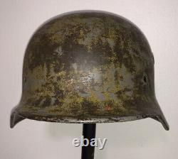 Original WWII German M40 Camo Army Wehrmacht Heer Steel Helmet Shell