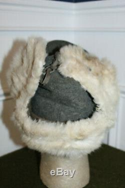 Rare Original WW2 German Army Cold Weather White Rabbit's Fur Field Hat, 43 d