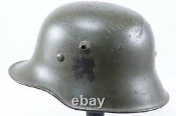 Transitional Period WWII German Army Helmet With Tri Colored Painted Shield