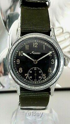 Ultra rare wristwatch Military Minerva German Army WW2 Wehrmacht Dienstuhr 2wk