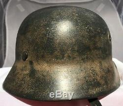 Very nice WW2 German M1940 SD Army tropical DAK camo helmet, SE64, Lot Nr. 446