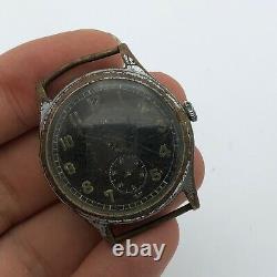 Vintage Swiss WW2 Watch Helvetia DH Mechanical Black Military German Army REPAIR