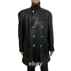 Vintage WW2 German Officers Horsehide Leather Pea Coat Jacket Black 52 42 23.5