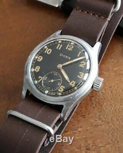 Vintage WWII German Military Doxa Dienstuhr All Original Army Watch Wehrmacht