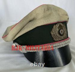 WW2 German Army Military Panzer Officers Crusher Visor Hat Cap (Hand Made)