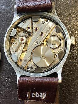 WW2 German Army Wrist Watch -Helma 15 Jewel Movement D H Designation Swiss
