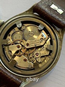 WW2 German Army Wrist Watch Helvetia 15 Jewel Movement D H Designation Swiss