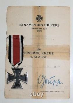 WW2 German EK2 and Certificate Volks Art 388 Battle Bulge & Remagen Bridge