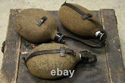 WW2 German Metal Aluminium Canteens Army Drinking set of 3 Wehrmacht Waffen