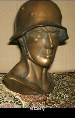 WWII Authentic Bronze German Army Wehrmacht Soldier Bust E. C. Zimmerman IN Hanau