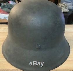 WWII GERMAN ARMY M42 LATE WAR NO DECAL STEEL HELMET WithLINER ORIGINAL PRE1945