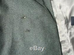WWII German Army GBJ Officers Tailor Made Wool Overcoat with Dark Green Collar