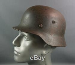 WWII German Army Wehrmacht M40 Steel Combat Helmet Size Q64 w Linear Authentic