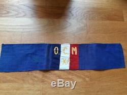 Ww2 Original French Resistance Armband Against German Army, Ocm Group From Paris