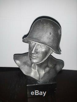 Wwii Original Bronze German Army Wehrmacht Soldier Bust, Marble Base Ww2