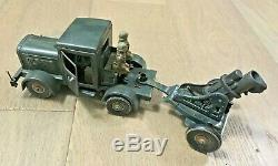1930 Vintage Ww2 Tippco Plate Armée Allemande Tin Camions Et Mortier