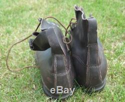 1940 Ère Seconde Guerre Mondiale Suède Originale Soldat Bottes En Cuir Pour La Wehrmacht 46