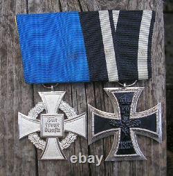 Allemand Ww1 Médaille + Ww2 Monté Médaille De Service-long Original