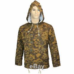 Armée Allemande Bord Camo Réversible Blurred Parka D'hiver Ww2 Repro Veste Manteau