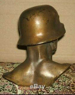 Armée Allemande Bronze Seconde Guerre Mondiale Authentique Soldat De La Wehrmacht Buste E. C. Zimmerman À Hanau
