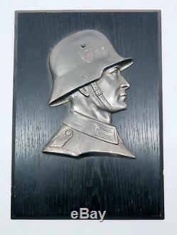 Armée Allemande Ww2 Bronze Officier Médaille Soldat Buste Plaque Murale De Bureau Uniforme