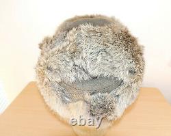 Armée Allemande Ww2 Repro East Front Real Rabbit Fur Ushanka Hat Sz60 7 1/2