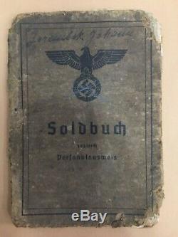 Armée D'origine Allemande Seconde Guerre Mondiale Soldbuch 100% Authentique