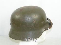 Casque D'origine Untouched Allemand M35 Overpaint Doublure Aluminium Allemagne Armée Ww2