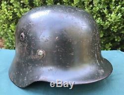 Casque Seconde Guerre Mondiale M35 Allemand Heer Armée Ns66 Lot 5092 Avec L'original Liner Et Peinture