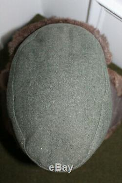Choix Original Ww2 German Army Cold Weather Brown Fur Hat Field Lapin
