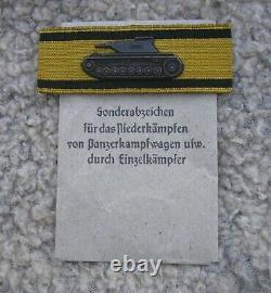 Destroyer Allemand De Réservoir De Bouclier De Bras Ww2 État Rare Original De Menthe