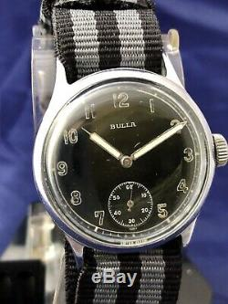Dh Militaire Allemand Bulla Vintage Wwii Poignet Army Watch Cal. As1130