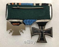 Fer Ww1 Armée Allemande Croix Ek2 Service Hindenburg Médaille Badge Ruban Bar Ww2