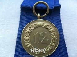 German Ww2 Originale Troisième Reich 12 Ans Médaille De Service Militaire