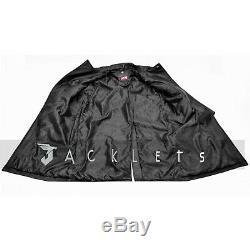 Hommes Classique Allemand Ww2 Officier Militaire Uniforme Noir Réel Trench-coat En Cuir